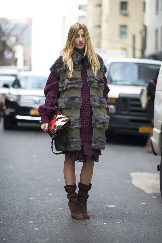 A statement fur kept this showgoer warm — and got her noticed — on her way to the shows. Source: Le 21ème   Adam Katz Sinding