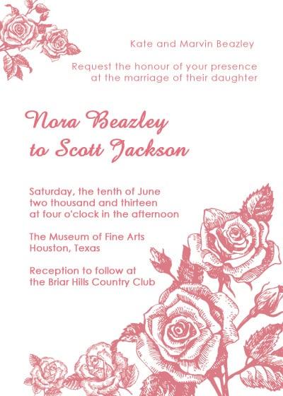 Shabby Chic Rose Wedding Invitation
