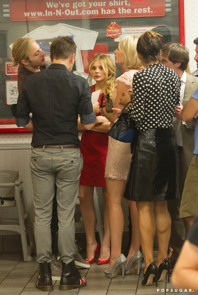 Chloë Moretz stopped by In-N-Out Burger with friends.