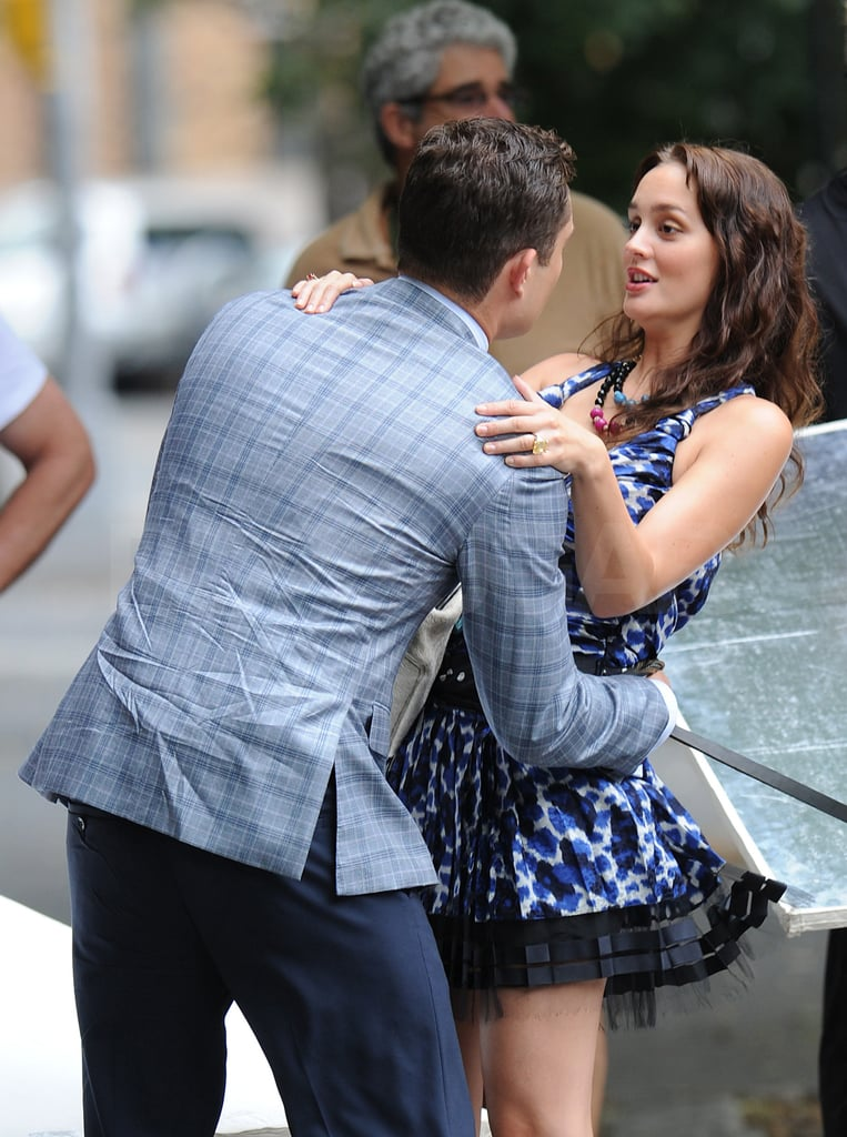 Leighton Meester and Ed Westwick, Blair and Chuck, shared a hug on the streets of NYC.