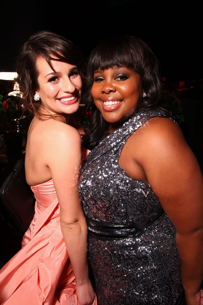 Lea was all smiles with Glee costar Amber Riley during InStyle's Golden Globes afterparty in LA in January 2011.