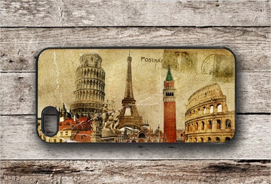 You'll be reminded of all your favorite travel sights when you glance down at this iPhone case (starting at $16) that's modeled after a vintage travel  postcard.