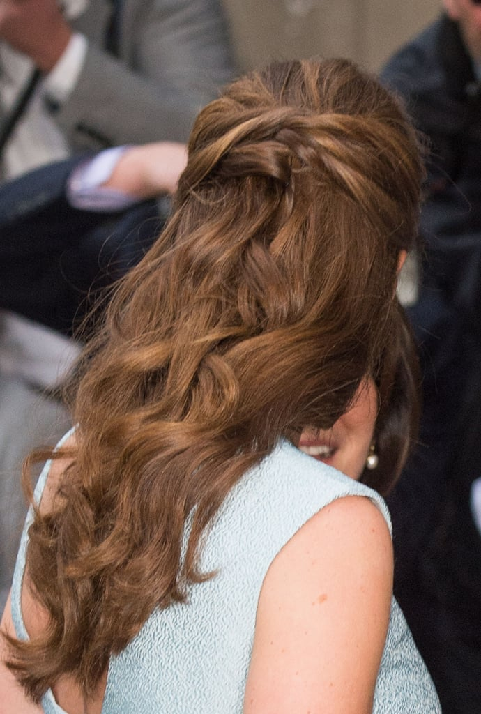 The key detail of this hairstyle is the intricately woven detail of the top part of Kate's hair.