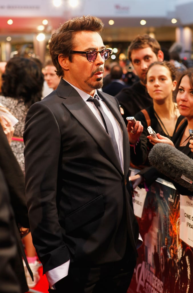 Robert Downey Jr. talked with fans at the premiere of The Avengers in London.