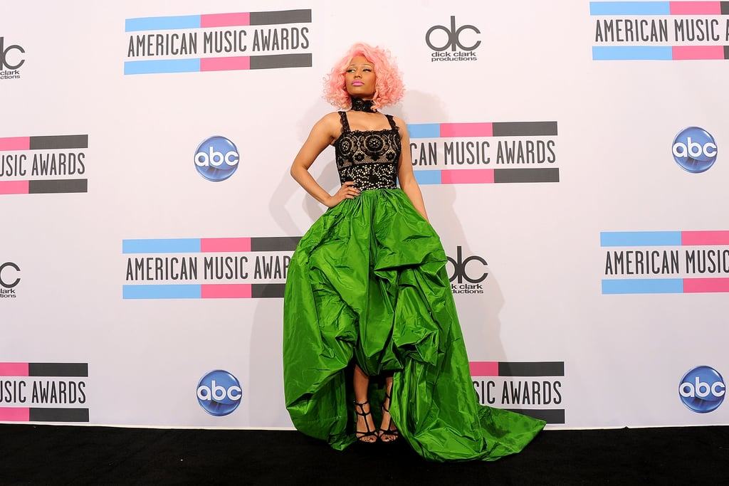 Nicki Minaj brought her bright green skirt to the press room.