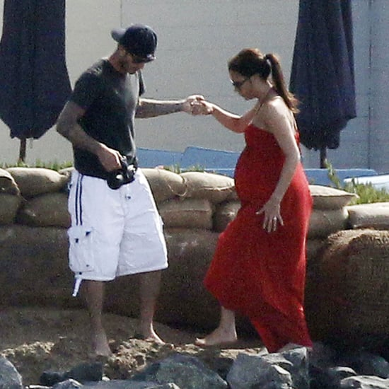 Victoria Beckham Pregnant on the Beach With David Before Giving Birth