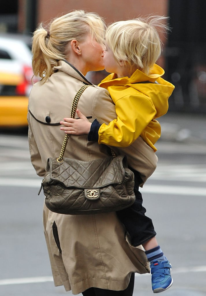 Naomi Watts exchanged a sweet kiss with her son Kai in NYC.