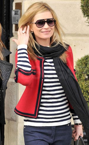 Photo of Kate Moss Wearing Piped Red Jacket and Striped Shirt in Paris