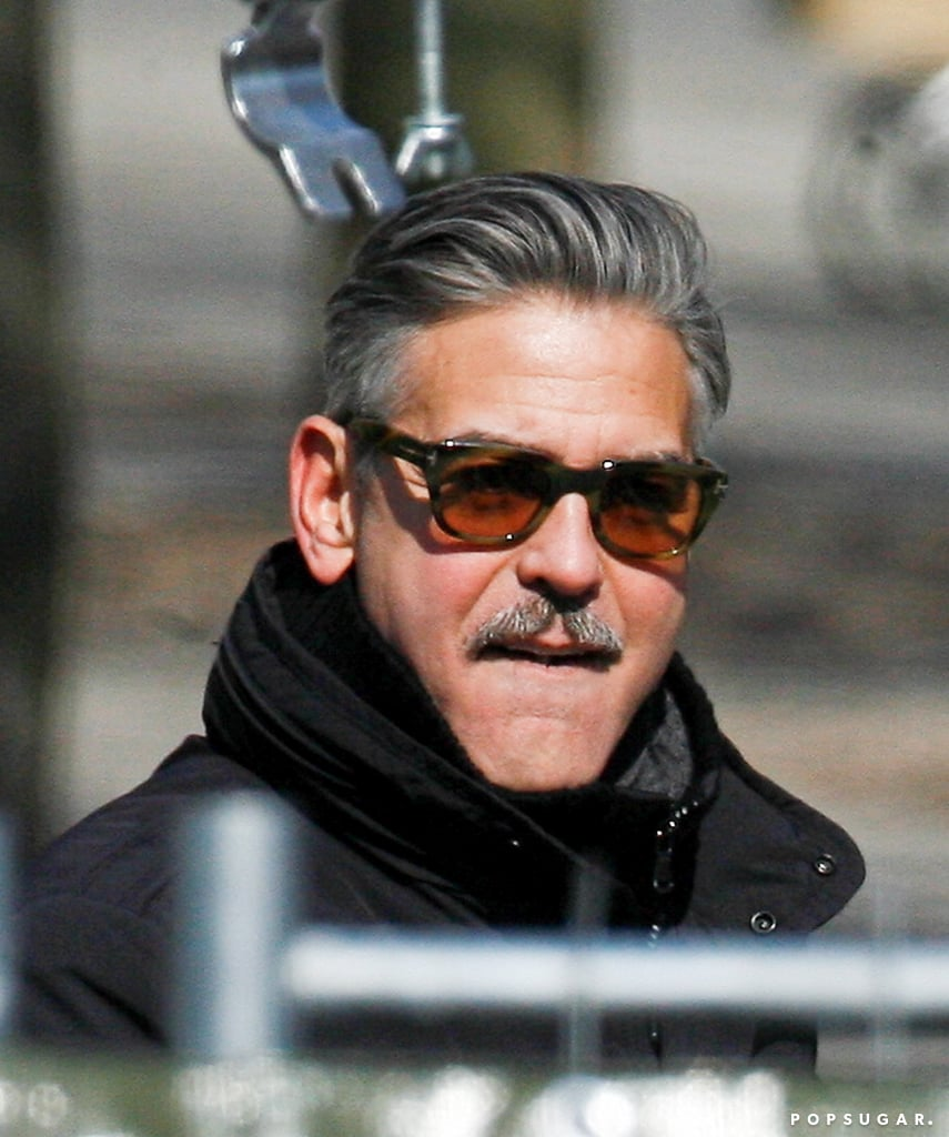 George clooney and matt damon filming monuments men pictures