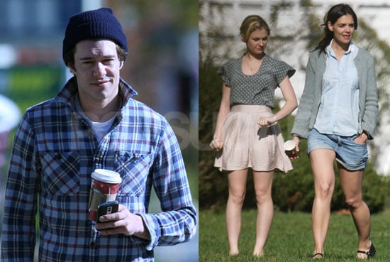 Photos of Adam Brody, Katie Holmes, and Anna Paquin on the Set of the Romantics in Long Island