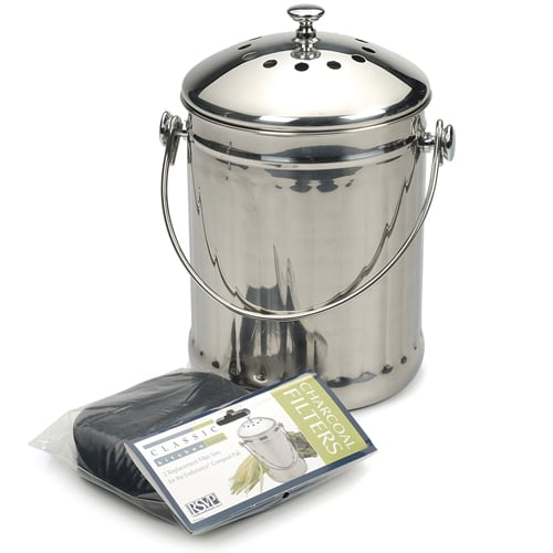 RSVP Endurance Stainless Steel Compost Pail, 1-Gallon | Chef Tools