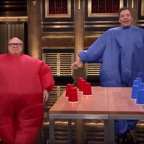 Jimmy Fallon and Danny DeVito Inflatable Flip Cup Video