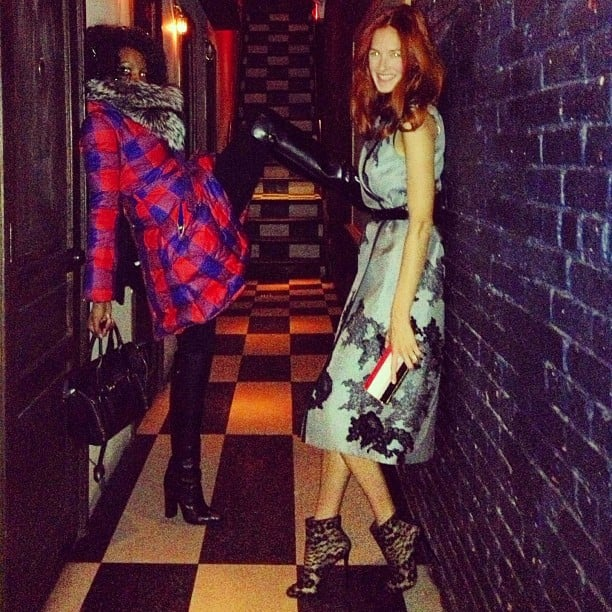 Taylor Tomasi-Hill practiced her sexy poses with a friend — and showed off a killer pair of lace booties. Source: Instagram user ttomasihill