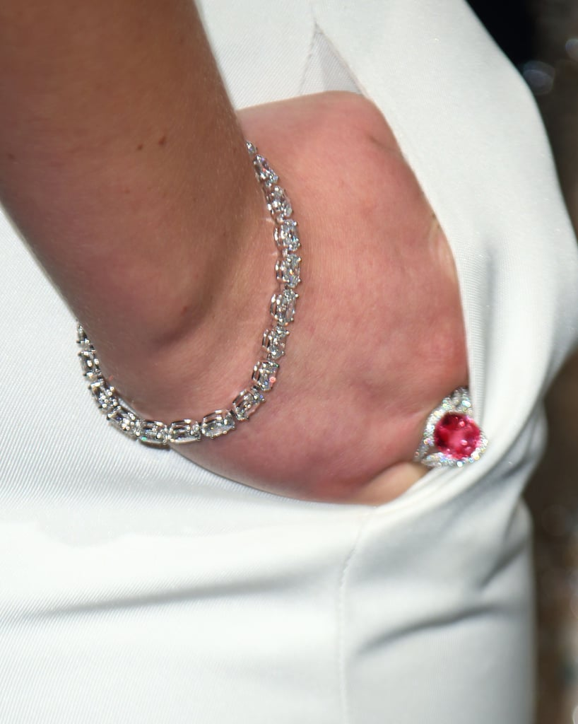 Jennifer Lawrence wore a diamond bracelet and stunning red ring.