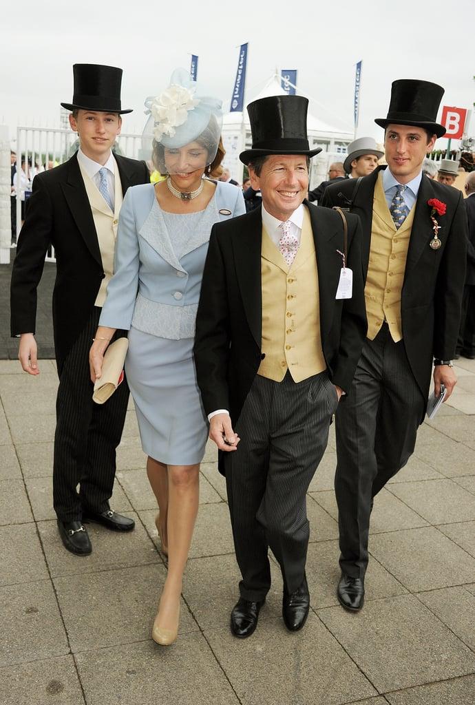 Alexander Warren, Lady Carolyn Warren, Sir John Warren, and Jake Warren walked together at the derby.
