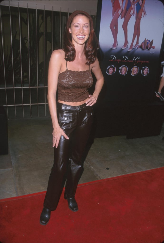 Shannon Elizabeth Kept It Trendy With a Hair Kerchief and Pleather Pants