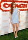 Holland Roden looked Spring-perfect in a sheer-sleeved baby-blue minidress and contrasting peep-toe pumps.