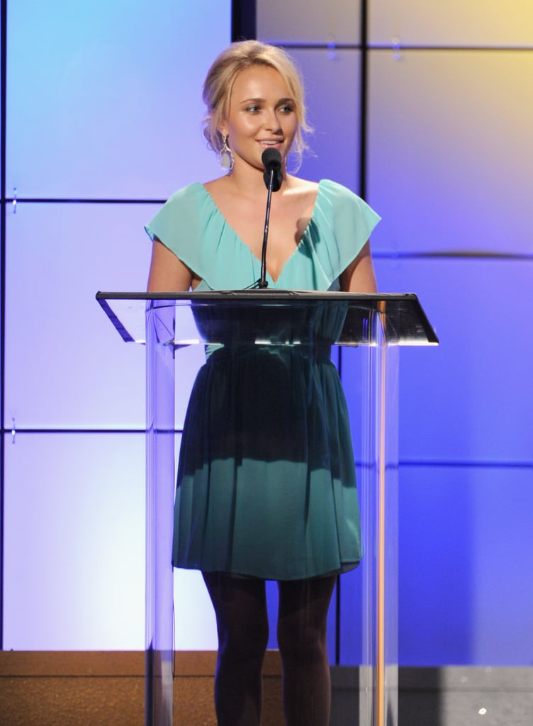 Hayden Panettiere wore a light blue dress to take the stage at the Critics' Choice Television Awards in LA.