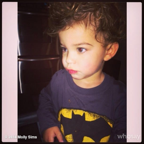 Brooks Stuber channeled his inner Ben Affleck to play Batman for his mom, Molly Sims. Source: Instagram user mollybsims