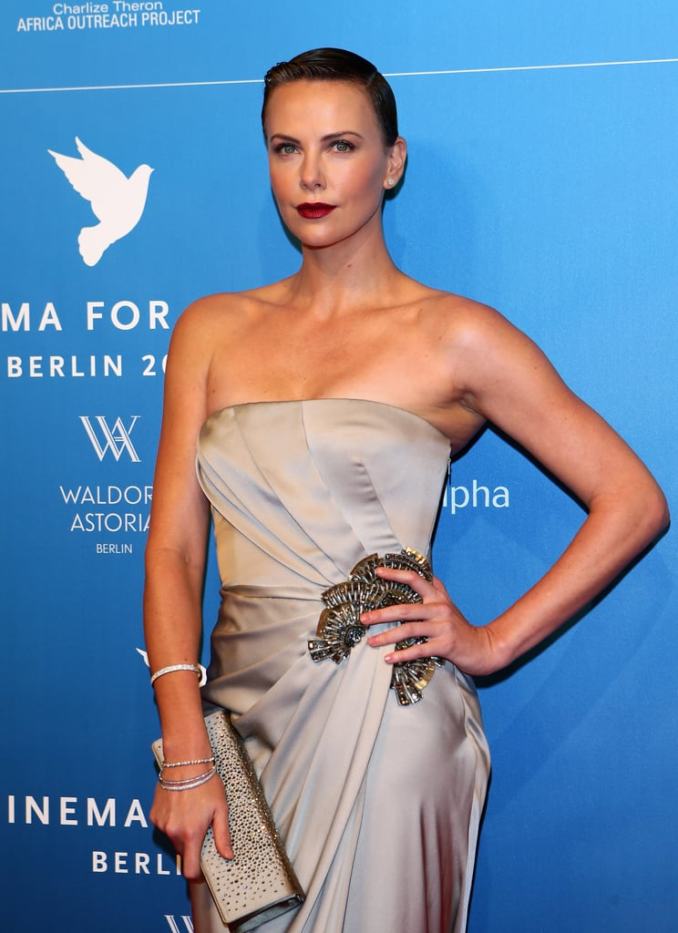 Charlize Theron Goes Dramatic in Gucci at the Cinema For Peace Gala