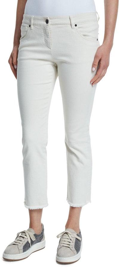 Brunello Cucinelli Cropped Frayed Denim Jeans, Stone ($775)</p><p>