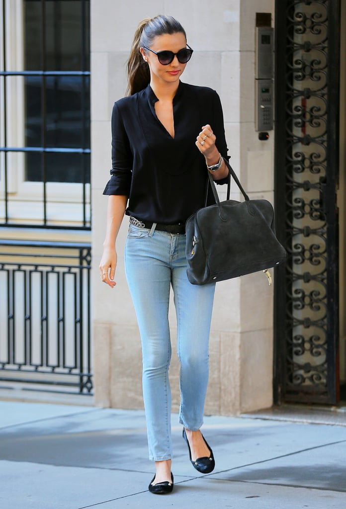 Skinny jeans and a structured bag are party of Miranda's off-duty uniform when running errands in New York.