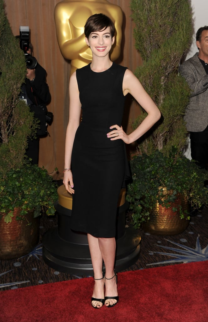 Anne Hathaway looked sleek chic at a special luncheon for Oscars nominees in Beverly Hills.