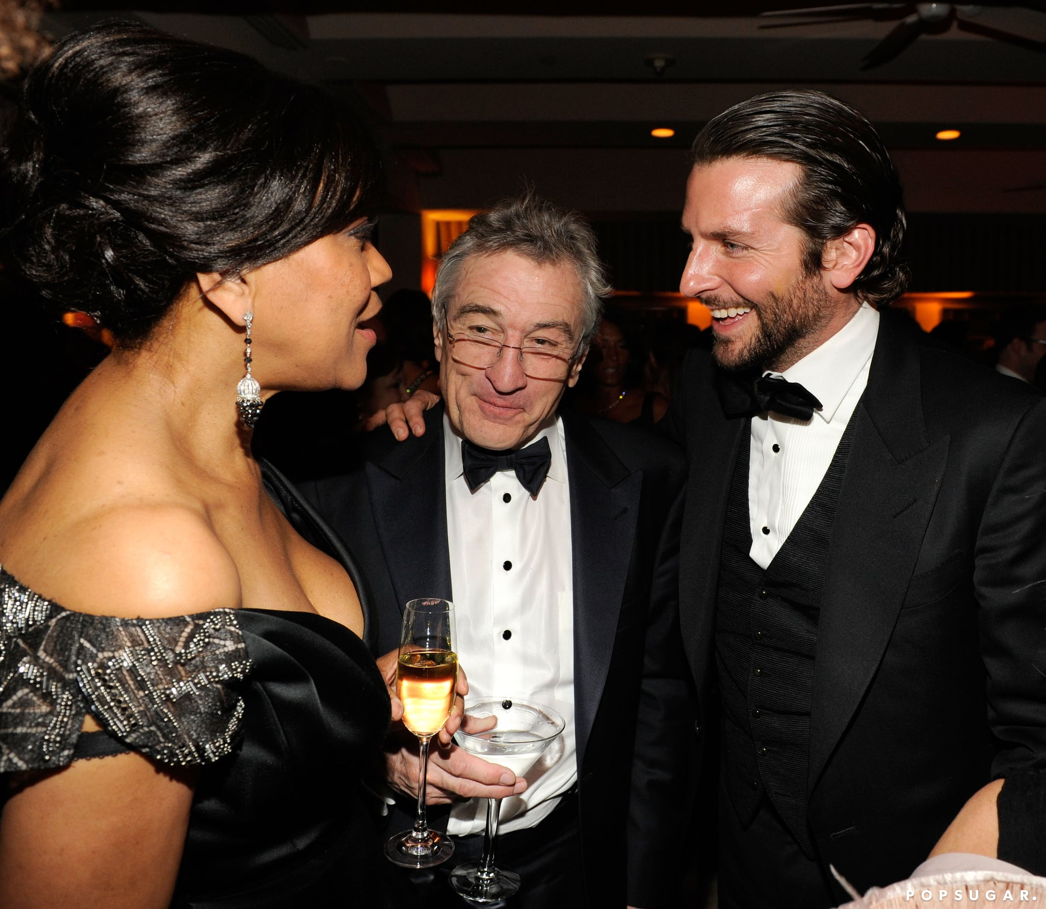 Bradley Cooper and Robert De Niro stuck together while they talked to Grace Hightower inside the Vanity Fair afterparty on Oscars Sunday.
