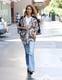 A patterned coat gave Jess's light bottoms a very '70s twist.