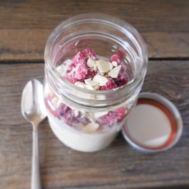 Mason jars + overnight oats = a busy girl's best friend!  To make this antioxidant-rich concoction, combine half a cup oats with half a cup of milk; add one cup of frozen raspberries and a handful of almonds to the mix. Before going to bed, stick the jar in the fridge, and then grab it when you're leaving for work the next day.