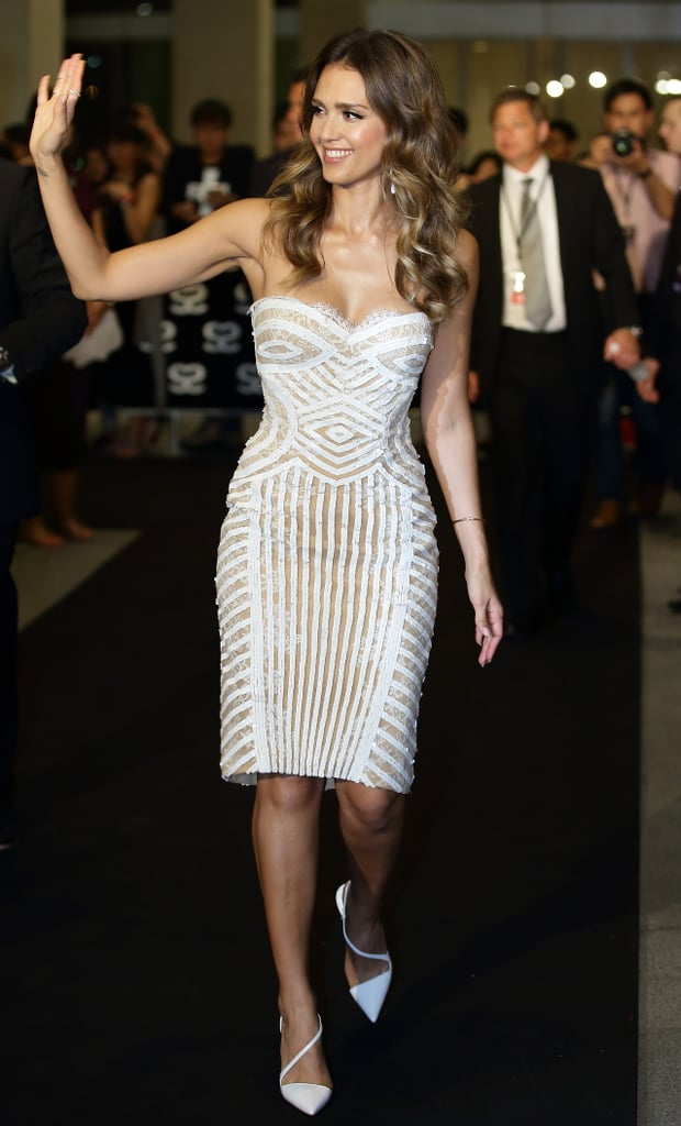 There's simply no other word for it: Jessica Alba looked incredible in a nude-and-white, lace-accented Zuhair Murad dress at an event in Singapore.