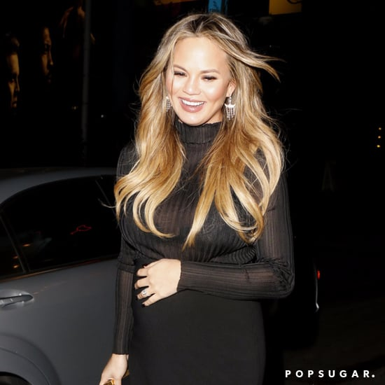 Chrissy Teigen Wearing a Sheer Turtleneck and Pencil Skirt