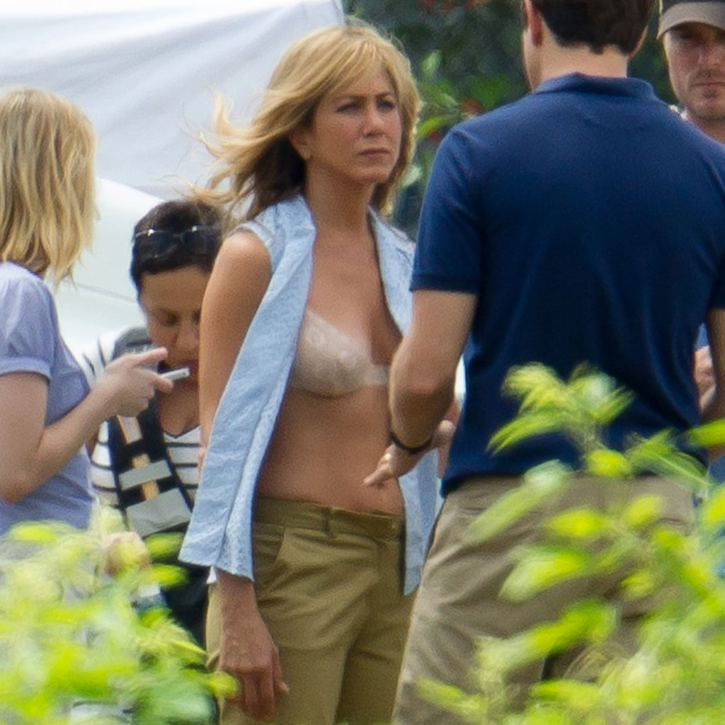 Jennifer Aniston Wearing a Bra on Set | POPSUGAR Celebrity