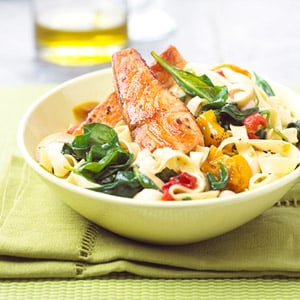 Mediterranean Salmon and Noodle Bowl Recipe