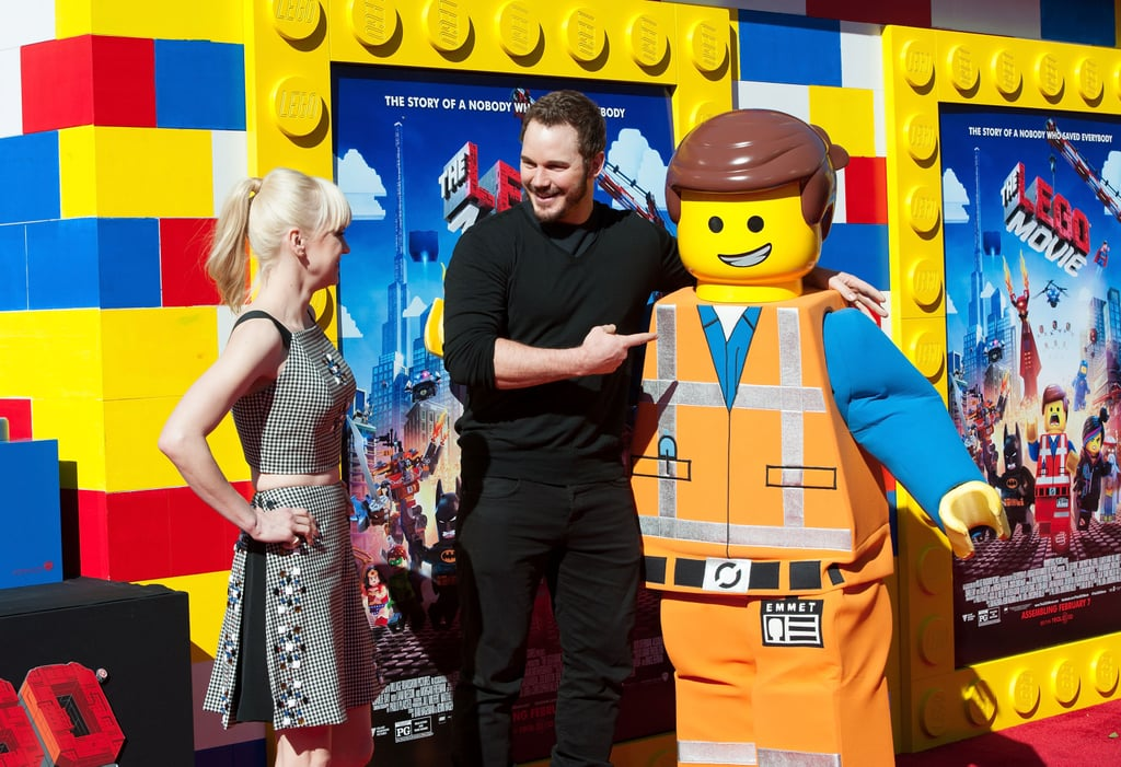 Chris posed with his The Lego Movie character while Anna looked on at the LA premiere in 2014.