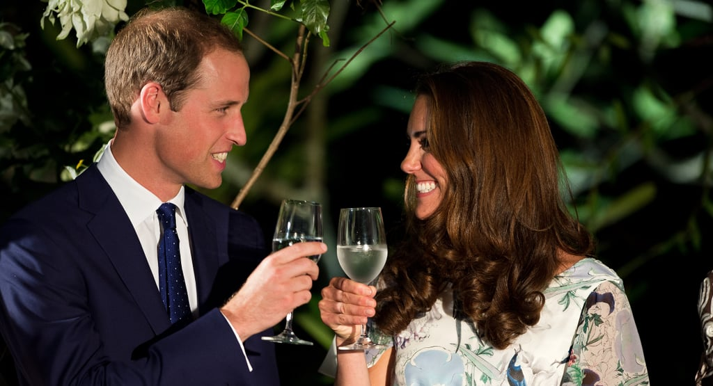 Kate Middleton and Prince William made a cheers with water in their wine glasses.