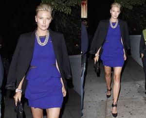Tennis Star Maria Sharapova Seen in LA Wearing Cobalt Dress and Black Blazer