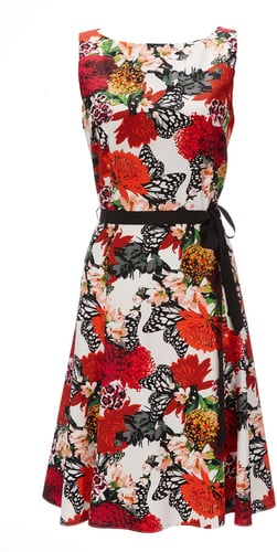 Red Floral And Butterfly Print Dress