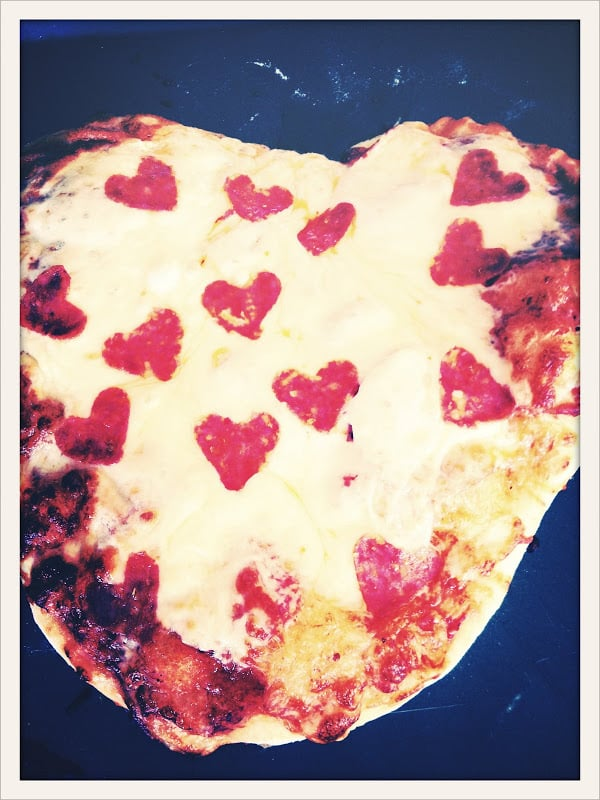 Even the pizza fit in perfectly with the love-filled luncheon.  Source: Jenny Cookies