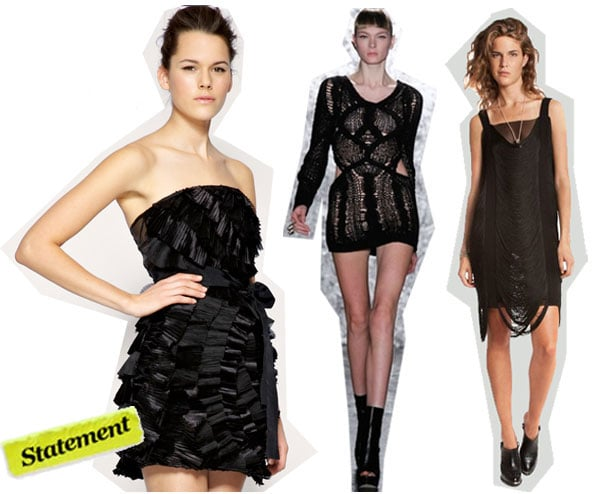 Asos Pleated Tiered Bandeau Dress ($147), Jen Kao Dissolve Dress ($1,089), Jean Paul Gaultier Fringe Dress ($1,130)