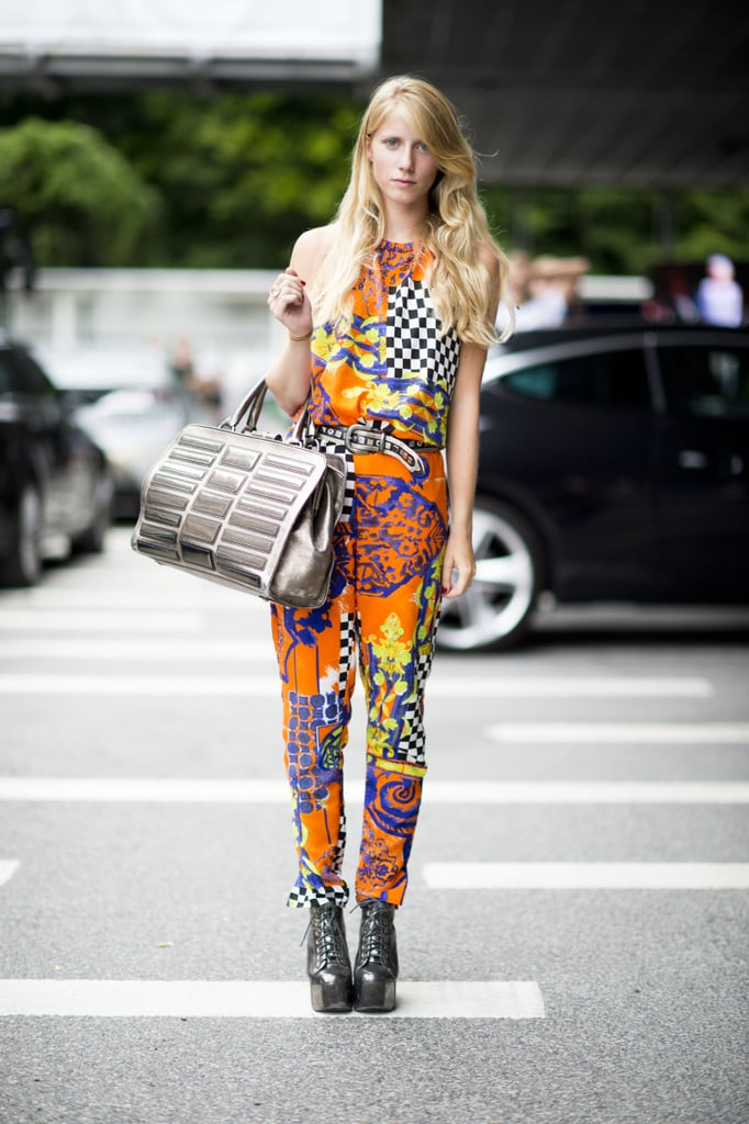 You can go bold like this; the trick is anchoring your bold print with a slim silhouette and grounded Fall footwear. Source: Adam Katz Sinding