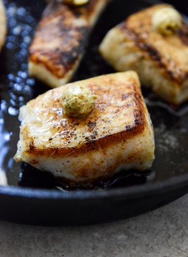Crispy Skillet Sea Bass With Pistachio Butter