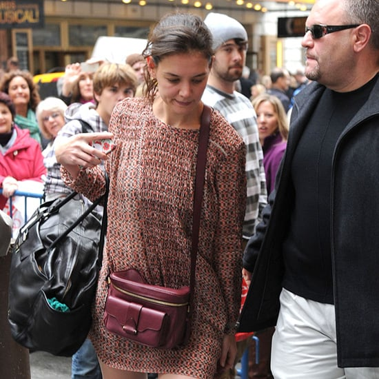 Katie Holmes Carrying Red Camera Bag