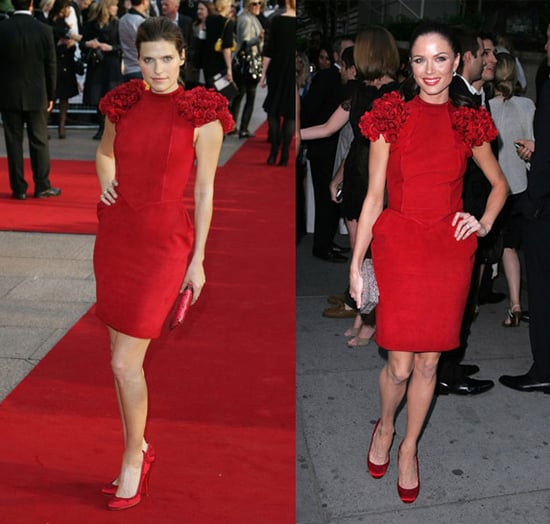 Who Wore It Better? Marchesa Red Rosette Dress