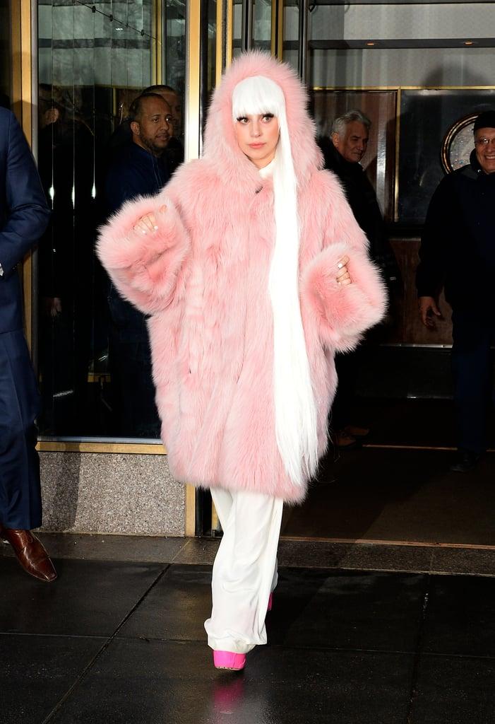 Lady Gaga in Pink Fur Coat in New York City in 2014