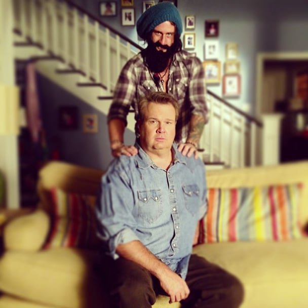"Eric Stonestreet got a special visit on the set of Modern Family, saying, ""Brian Wilson stopped by the set today and now he won't leave."" Source: Instagram user ericstonestreet"