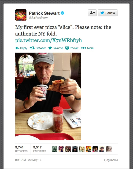 Sir Patrick Stewart sinks his teeth into his first pizza slice (keyword: slice, which he cleared up to New York mag, responding to fans' disbelief).