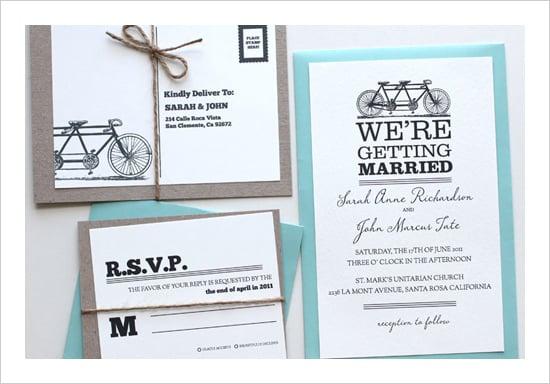 Tandem Bike Wedding Invitation