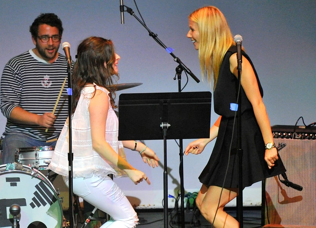 Gwyneth Paltrow and Sasha Spielberg danced and sang together at the Poetic Justice fundraiser on Wednesday in LA.