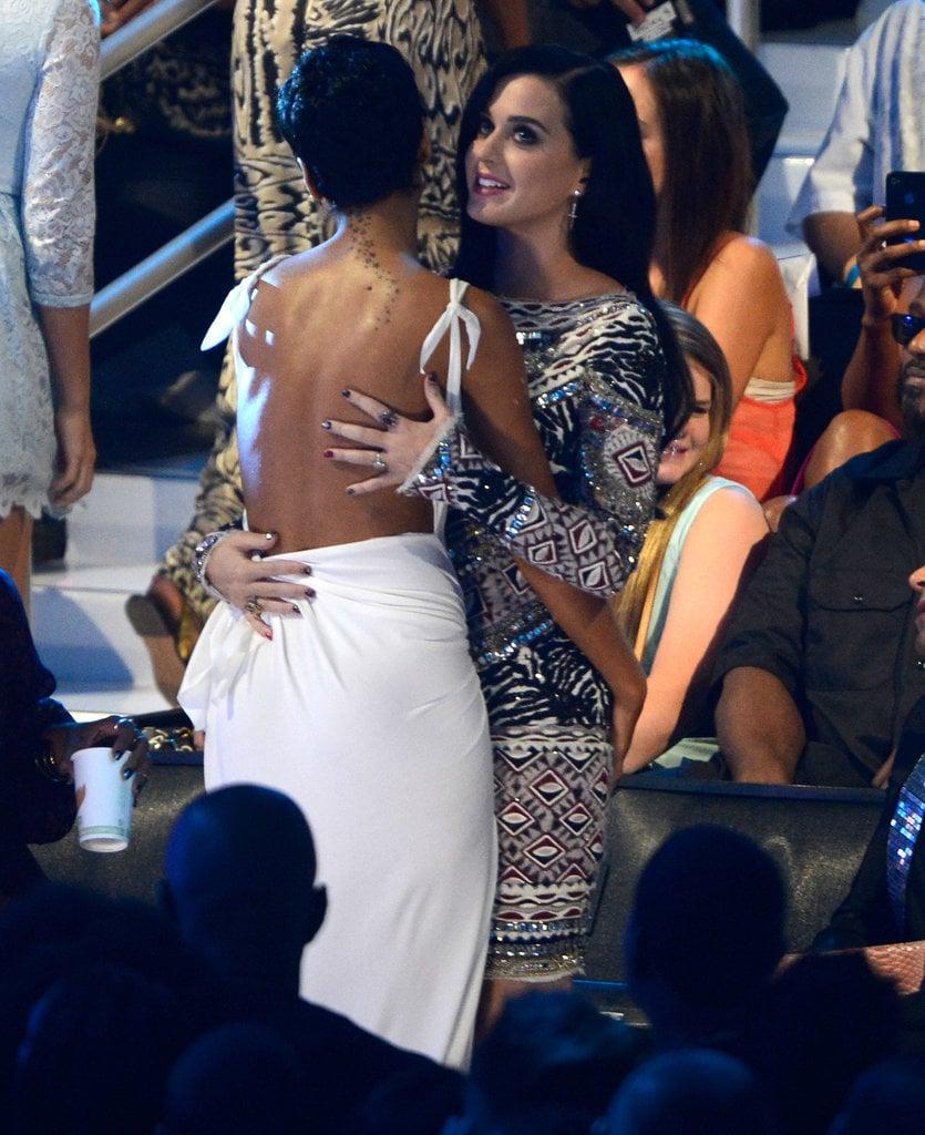 Rihanna and Katy Perry shared a hug at the 2012 show.